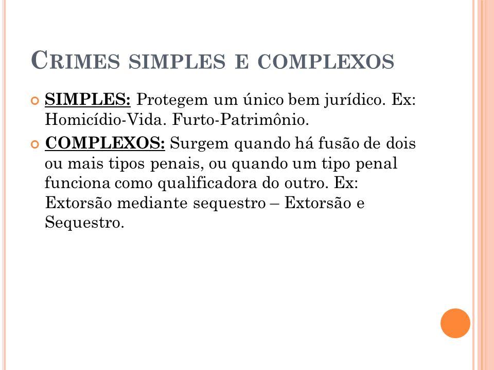 C RIMES SIMPLES E COMPLEXOS SIMPLES: Protegem um único bem jurídico. Ex: Homicídio-Vida. Furto-Patrimônio. COMPLEXOS: Surgem quando há fusão de dois o
