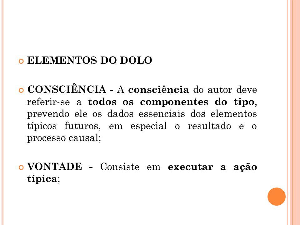 ELEMENTOS DO DOLO CONSCIÊNCIA - A consciência do autor deve referir-se a todos os componentes do tipo, prevendo ele os dados essenciais dos elementos