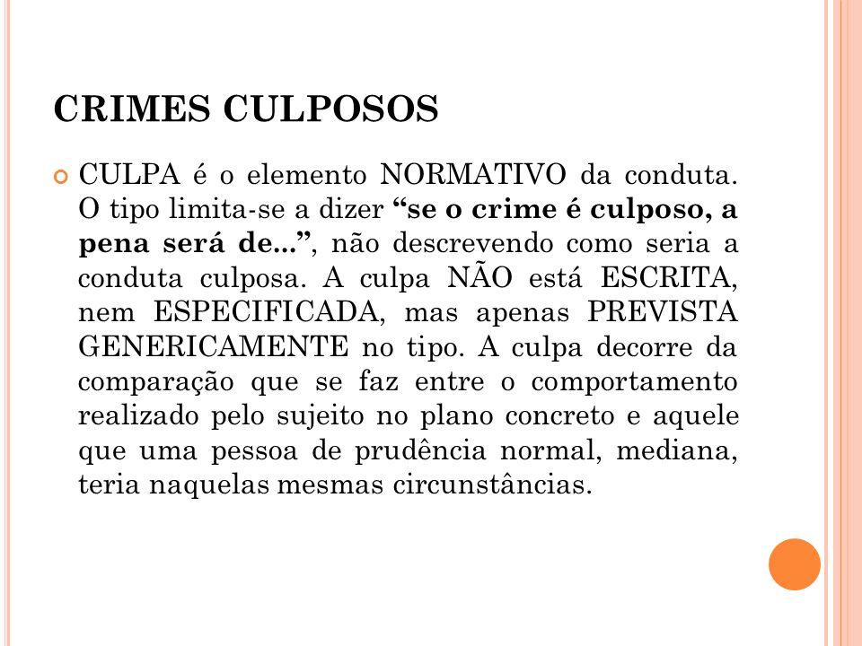 CRIMES CULPOSOS CULPA é o elemento NORMATIVO da conduta. O tipo limita-se a dizer se o crime é culposo, a pena será de..., não descrevendo como seria