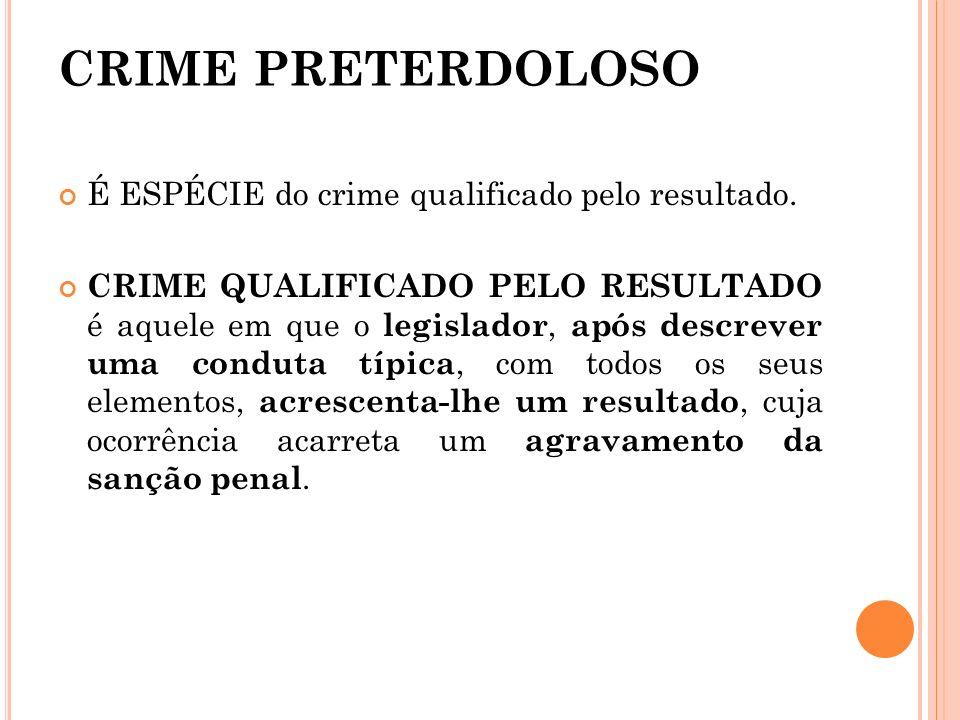 CRIME PRETERDOLOSO É ESPÉCIE do crime qualificado pelo resultado. CRIME QUALIFICADO PELO RESULTADO é aquele em que o legislador, após descrever uma co