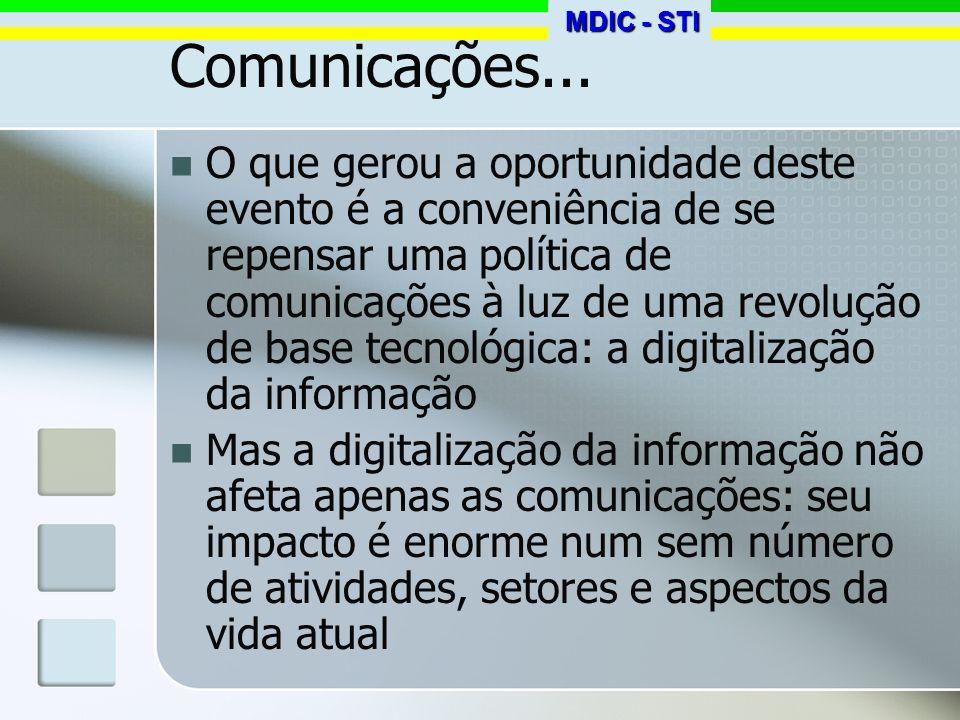 Convergência e globalização Nos anos 70 começou-se a falar em complexo eletrônico, como forma de agrupar diversos segmentos que passavam a usar dispositivos semicondutores: já era um enfoque de convergência A digitalização progressiva da informação gera algo mais amplo, cuja melhor designação é convergência digital MDIC - STI