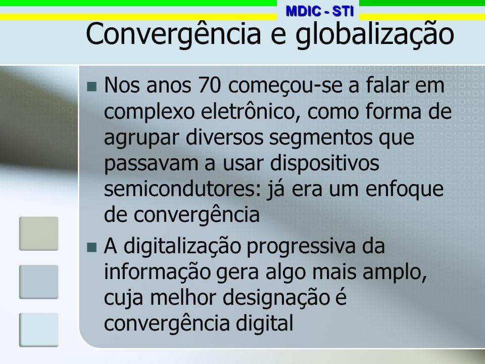 Convergência e globalização Nos anos 70 começou-se a falar em complexo eletrônico, como forma de agrupar diversos segmentos que passavam a usar dispos