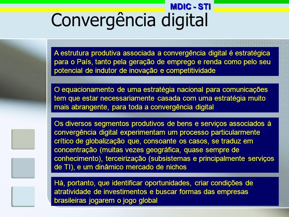 Convergência digital A estrutura produtiva associada a convergência digital é estratégica para o País, tanto pela geração de emprego e renda como pelo