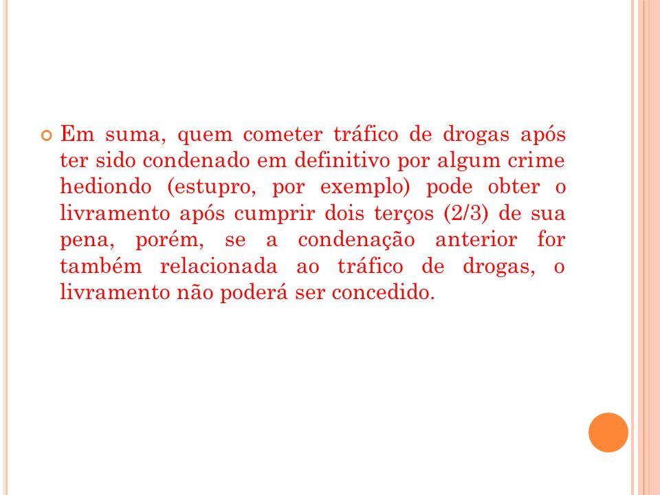 Em suma, quem cometer tráfico de drogas após ter sido condenado em definitivo por algum crime hediondo (estupro, por exemplo) pode obter o livramento