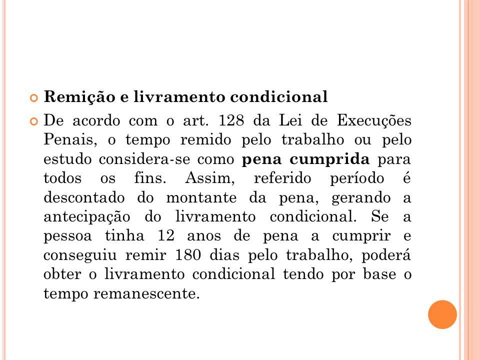 Remição e livramento condicional De acordo com o art. 128 da Lei de Execuções Penais, o tempo remido pelo trabalho ou pelo estudo considera-se como pe