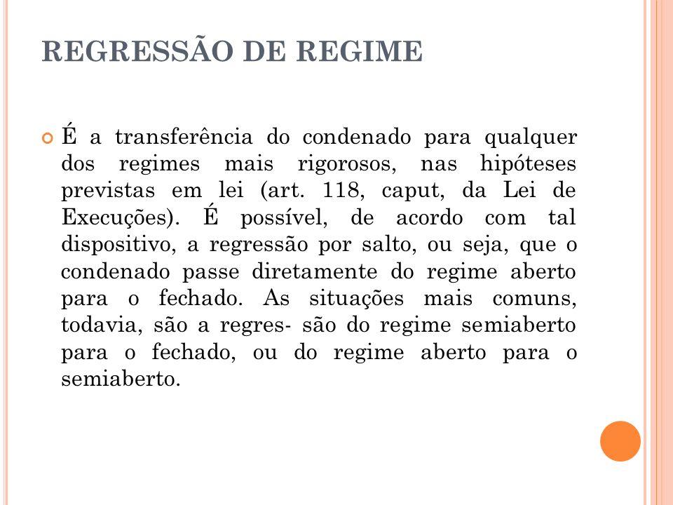 REGRESSÃO DE REGIME É a transferência do condenado para qualquer dos regimes mais rigorosos, nas hipóteses previstas em lei (art. 118, caput, da Lei d
