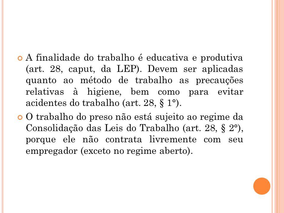 A finalidade do trabalho é educativa e produtiva (art. 28, caput, da LEP). Devem ser aplicadas quanto ao método de trabalho as precauções relativas à