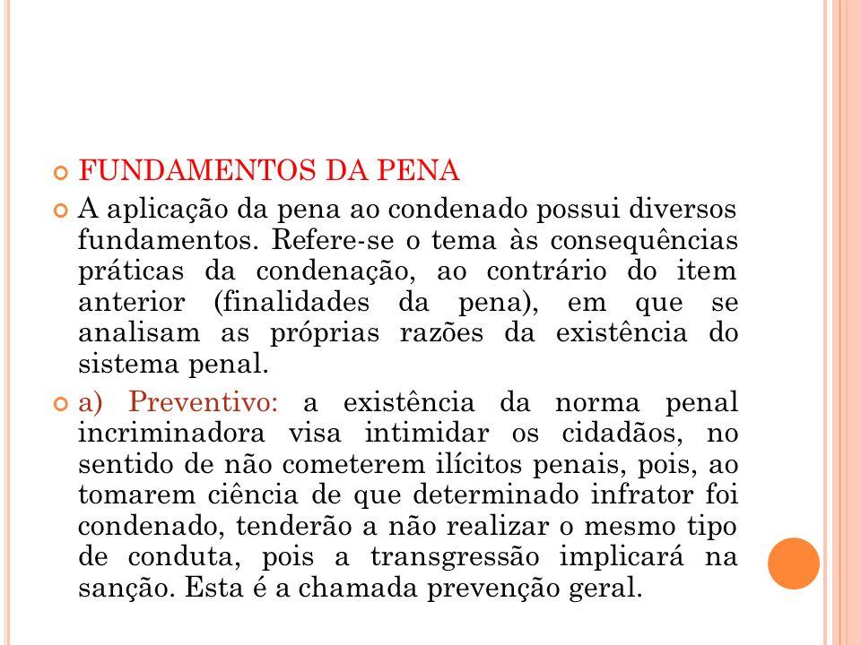 FUNDAMENTOS DA PENA A aplicação da pena ao condenado possui diversos fundamentos. Refere-se o tema às consequências práticas da condenação, ao contrár