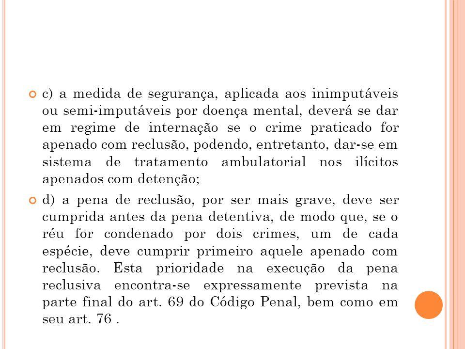 c) a medida de segurança, aplicada aos inimputáveis ou semi-imputáveis por doença mental, deverá se dar em regime de internação se o crime praticado f