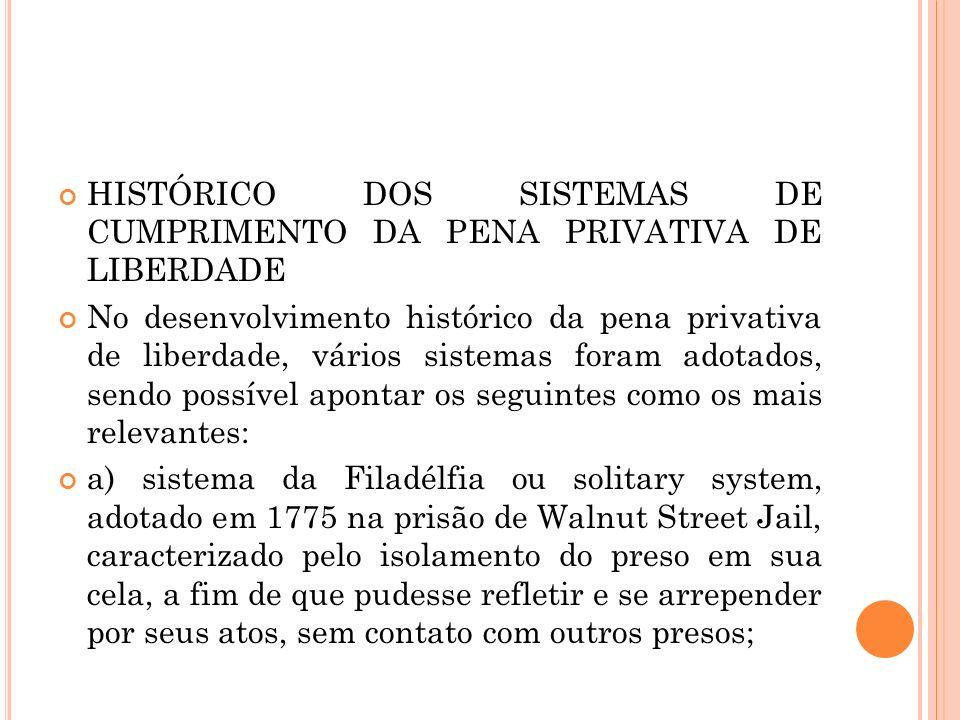 HISTÓRICO DOS SISTEMAS DE CUMPRIMENTO DA PENA PRIVATIVA DE LIBERDADE No desenvolvimento histórico da pena privativa de liberdade, vários sistemas fora