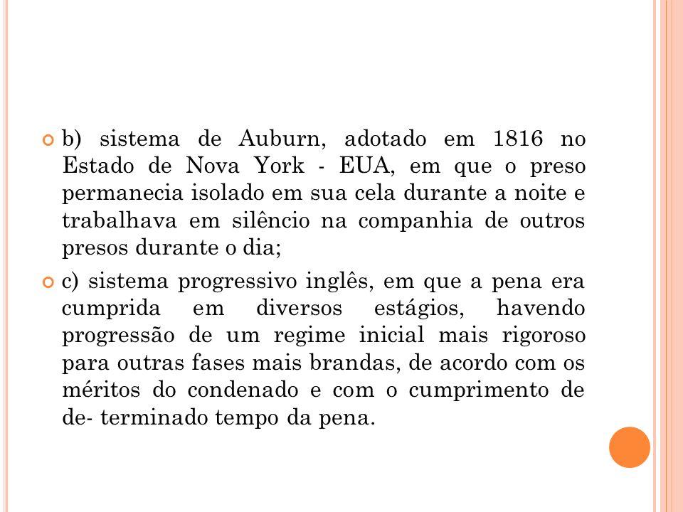 b) sistema de Auburn, adotado em 1816 no Estado de Nova York - EUA, em que o preso permanecia isolado em sua cela durante a noite e trabalhava em silê