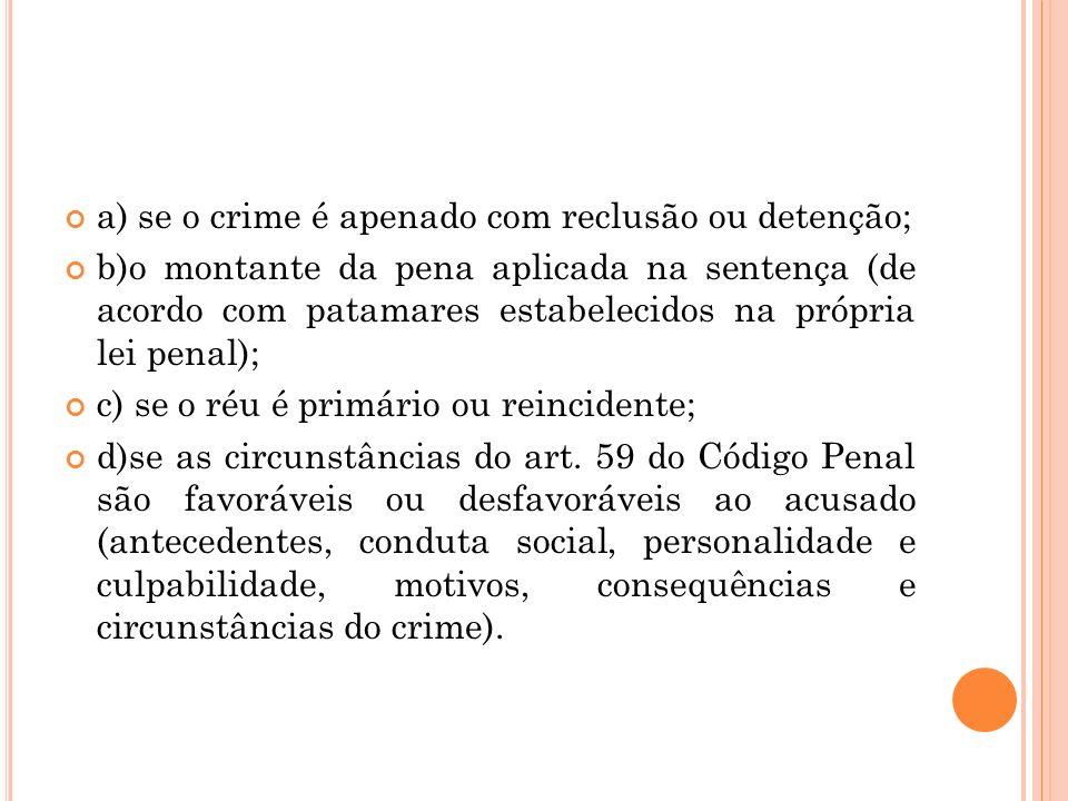 a) se o crime é apenado com reclusão ou detenção; b)o montante da pena aplicada na sentença (de acordo com patamares estabelecidos na própria lei pena