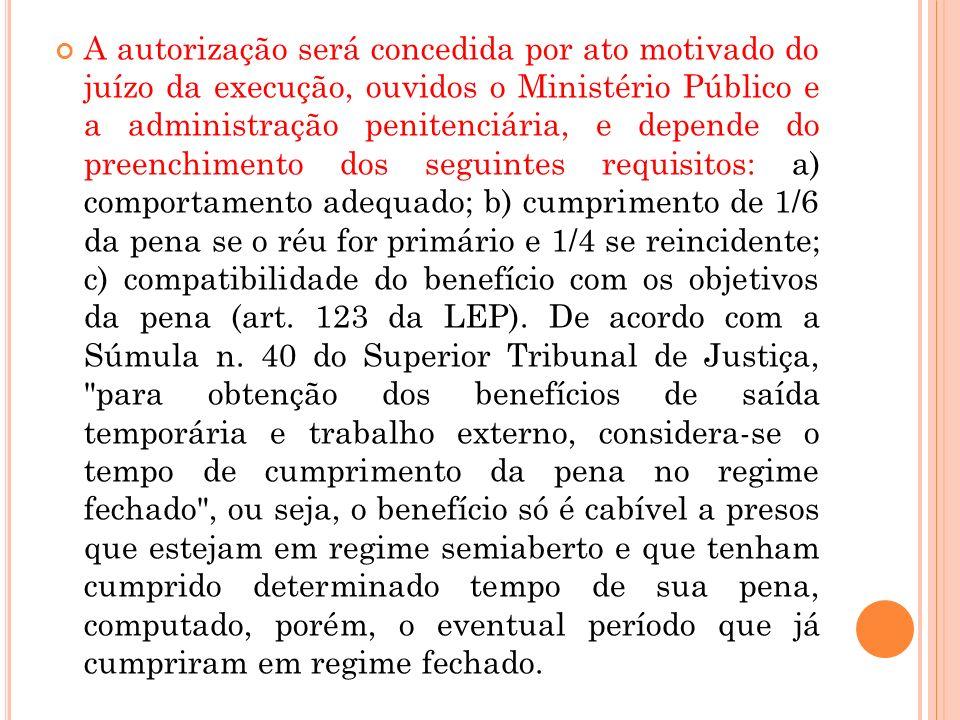 A autorização será concedida por ato motivado do juízo da execução, ouvidos o Ministério Público e a administração penitenciária, e depende do preench