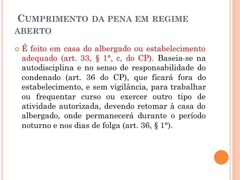 C UMPRIMENTO DA PENA EM REGIME ABERTO É feito em casa do albergado ou estabelecimento adequado (art. 33, § 1°, c, do CP). Baseia-se na autodisciplina