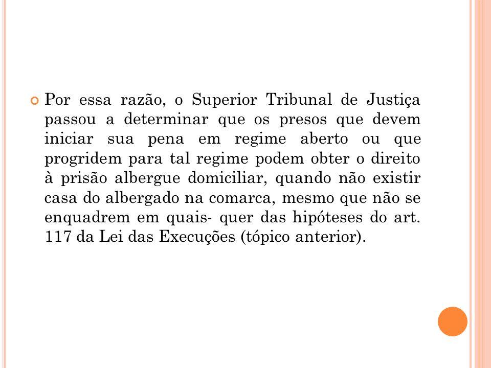 Por essa razão, o Superior Tribunal de Justiça passou a determinar que os presos que devem iniciar sua pena em regime aberto ou que progridem para tal