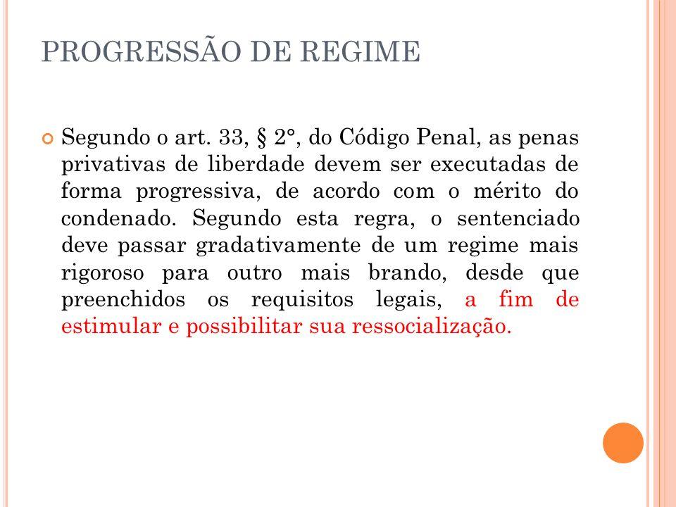 PROGRESSÃO DE REGIME Segundo o art. 33, § 2°, do Código Penal, as penas privativas de liberdade devem ser executadas de forma progressiva, de acordo c