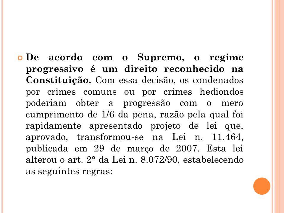 De acordo com o Supremo, o regime progressivo é um direito reconhecido na Constituição. Com essa decisão, os condenados por crimes comuns ou por crime