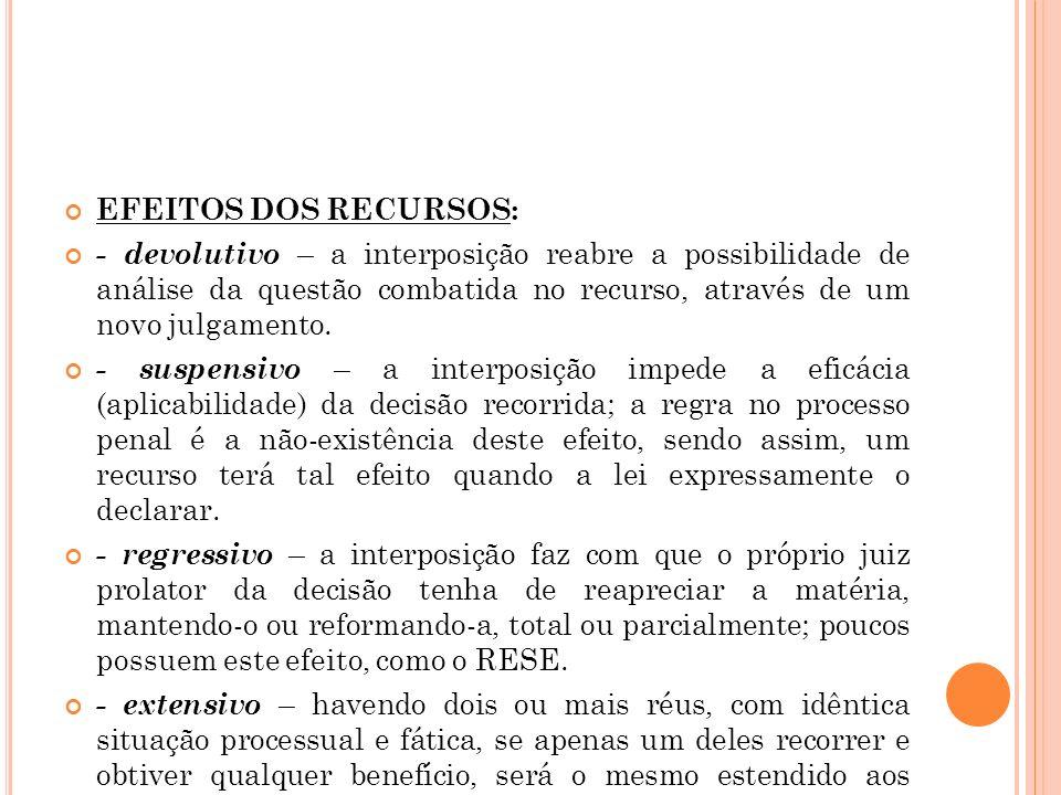 EFEITOS DOS RECURSOS: - devolutivo – a interposição reabre a possibilidade de análise da questão combatida no recurso, através de um novo julgamento.