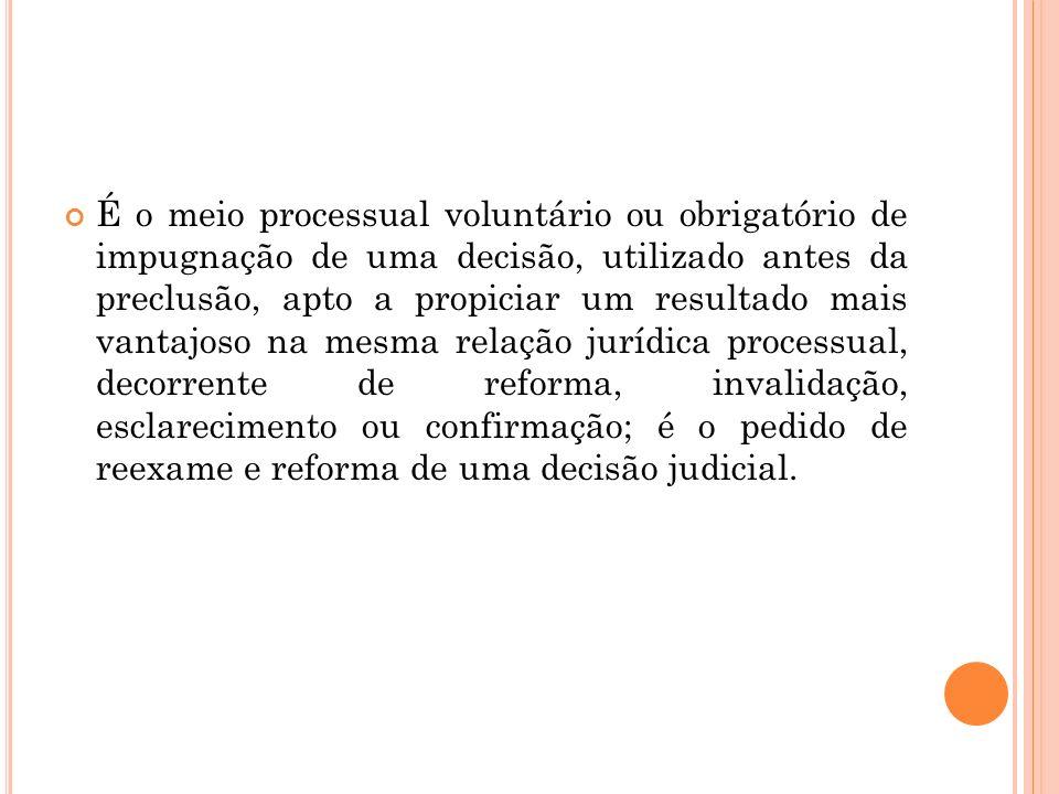- efeitos: devolutivo (devolução do julgamento da matéria ao 2° grau de jurisdição) e regressivo (possibilidade de o próprio juiz reapreciar a decisão recorrida - juízo de retratação ).