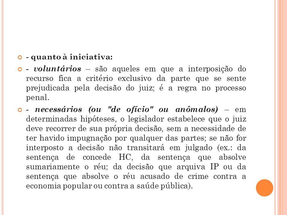 - quanto à iniciativa: - voluntários – são aqueles em que a interposição do recurso fica a critério exclusivo da parte que se sente prejudicada pela d