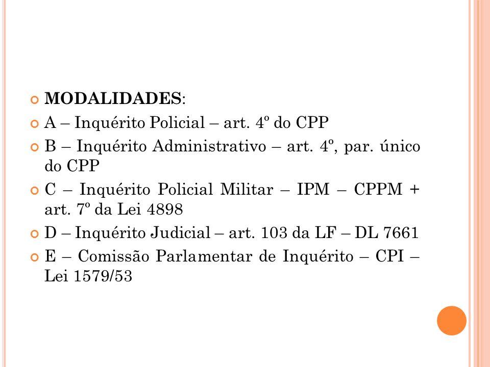 MODALIDADES : A – Inquérito Policial – art. 4º do CPP B – Inquérito Administrativo – art. 4º, par. único do CPP C – Inquérito Policial Militar – IPM –