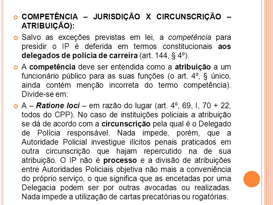 COMPETÊNCIA – JURISDIÇÃO X CIRCUNSCRIÇÃO – ATRIBUIÇÃO): Salvo as exceções previstas em lei, a competência para presidir o IP é deferida em termos cons