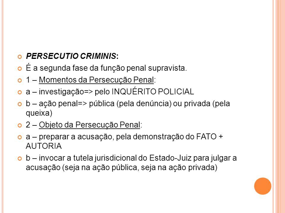 PERSECUTIO CRIMINIS: É a segunda fase da função penal supravista. 1 – Momentos da Persecução Penal: a – investigação=> pelo INQUÉRITO POLICIAL b – açã