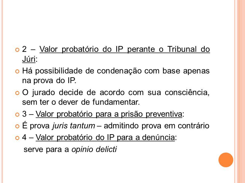 2 – Valor probatório do IP perante o Tribunal do Júri: Há possibilidade de condenação com base apenas na prova do IP. O jurado decide de acordo com su