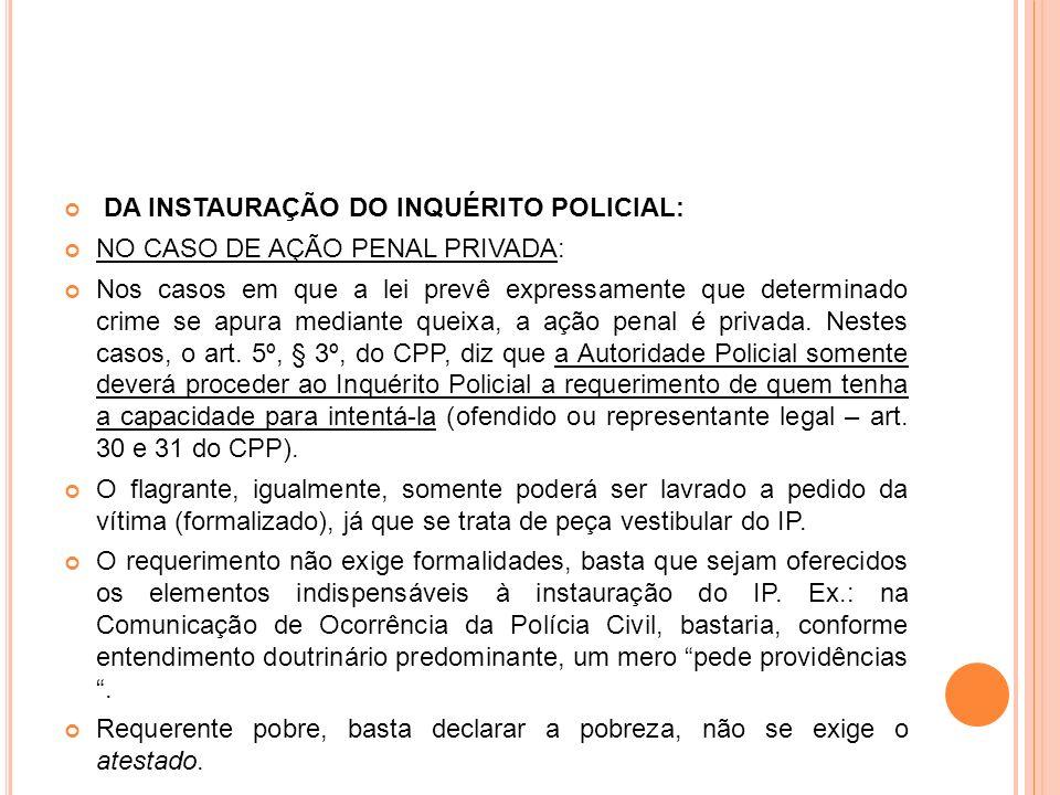 DA INSTAURAÇÃO DO INQUÉRITO POLICIAL: NO CASO DE AÇÃO PENAL PRIVADA: Nos casos em que a lei prevê expressamente que determinado crime se apura mediant