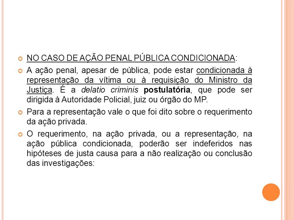 NO CASO DE AÇÃO PENAL PÚBLICA CONDICIONADA: A ação penal, apesar de pública, pode estar condicionada à representação da vítima ou à requisição do Mini