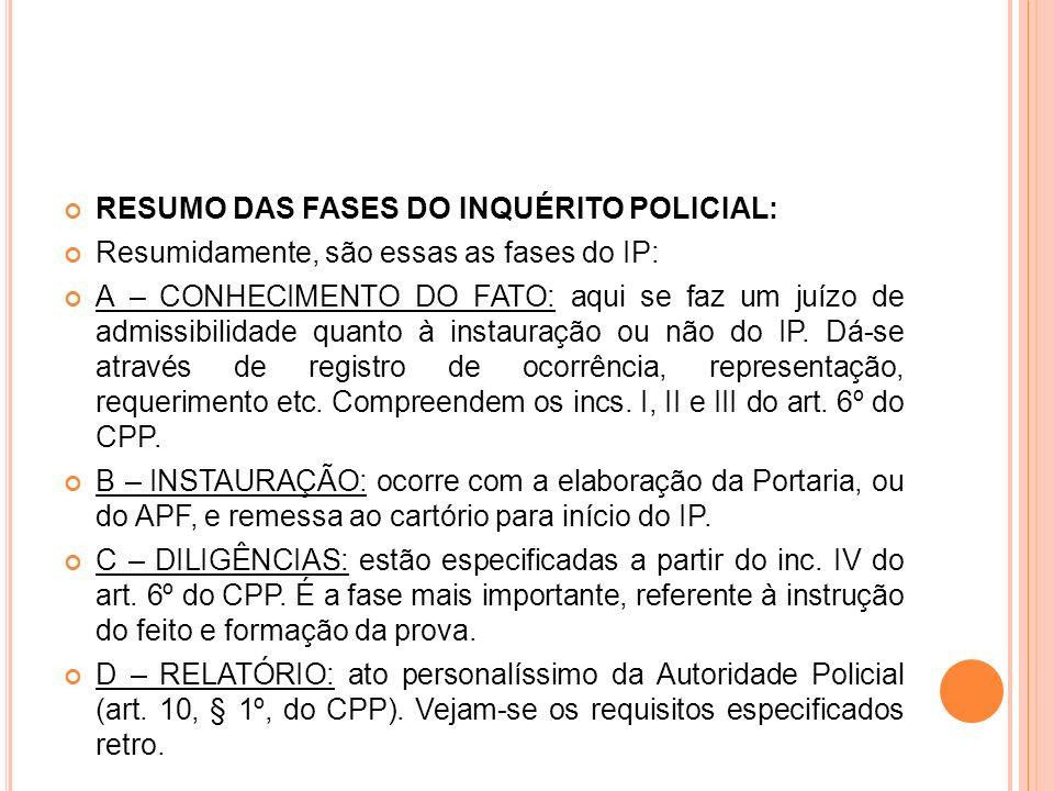 RESUMO DAS FASES DO INQUÉRITO POLICIAL: Resumidamente, são essas as fases do IP: A – CONHECIMENTO DO FATO: aqui se faz um juízo de admissibilidade qua