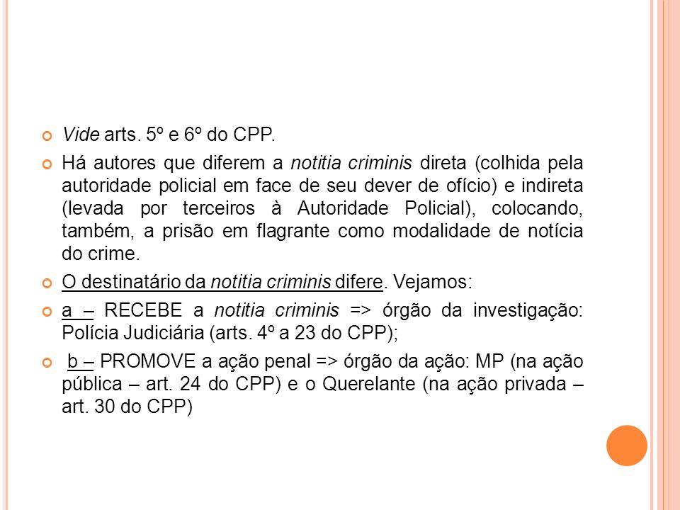 Vide arts. 5º e 6º do CPP. Há autores que diferem a notitia criminis direta (colhida pela autoridade policial em face de seu dever de ofício) e indire