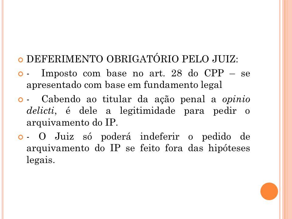 DEFERIMENTO OBRIGATÓRIO PELO JUIZ: - Imposto com base no art. 28 do CPP – se apresentado com base em fundamento legal - Cabendo ao titular da ação pen