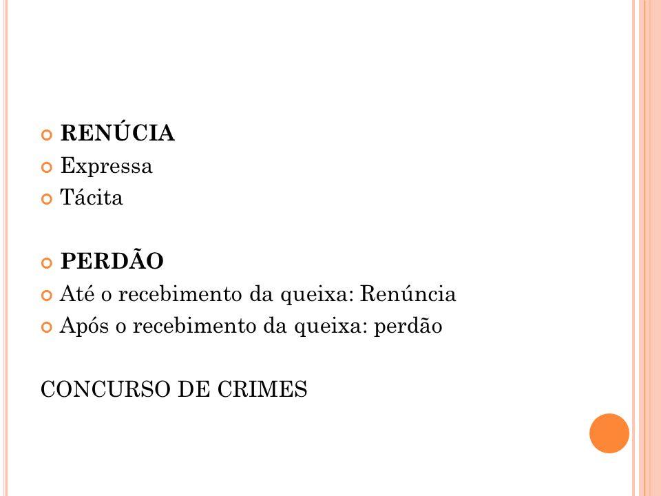 RENÚCIA Expressa Tácita PERDÃO Até o recebimento da queixa: Renúncia Após o recebimento da queixa: perdão CONCURSO DE CRIMES