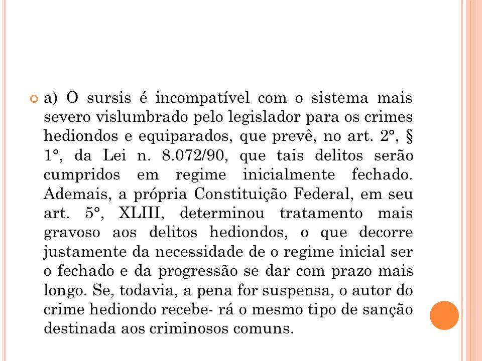 a) O sursis é incompatível com o sistema mais severo vislumbrado pelo legislador para os crimes hediondos e equiparados, que prevê, no art. 2°, § 1°,
