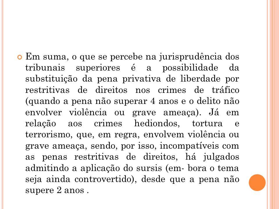Em suma, o que se percebe na jurisprudência dos tribunais superiores é a possibilidade da substituição da pena privativa de liberdade por restritivas