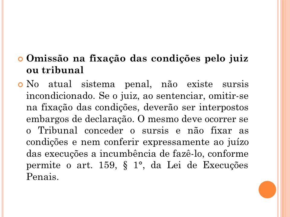 Omissão na fixação das condições pelo juiz ou tribunal No atual sistema penal, não existe sursis incondicionado. Se o juiz, ao sentenciar, omitir-se n