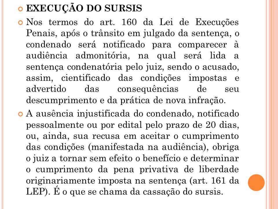 EXECUÇÃO DO SURSIS Nos termos do art. 160 da Lei de Execuções Penais, após o trânsito em julgado da sentença, o condenado será notificado para compare