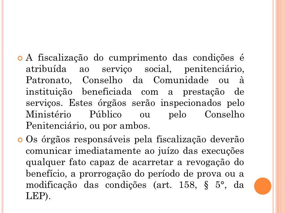 A fiscalização do cumprimento das condições é atribuída ao serviço social, penitenciário, Patronato, Conselho da Comunidade ou à instituição beneficia