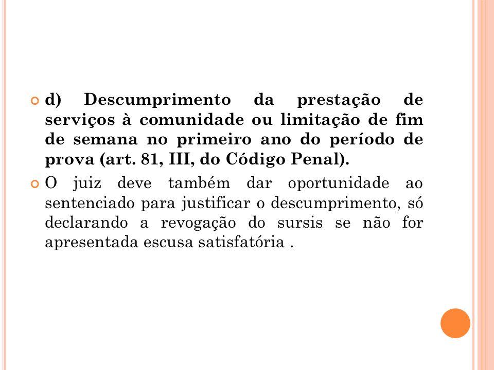 d) Descumprimento da prestação de serviços à comunidade ou limitação de fim de semana no primeiro ano do período de prova (art. 81, III, do Código Pen