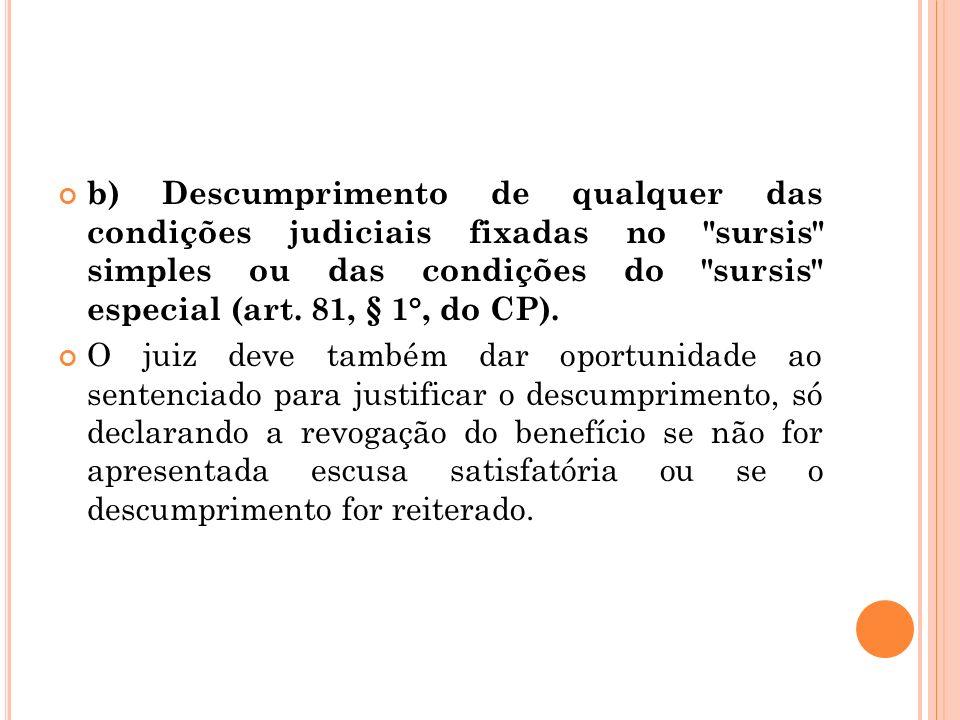 b) Descumprimento de qualquer das condições judiciais fixadas no