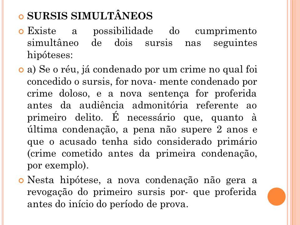SURSIS SIMULTÂNEOS Existe a possibilidade do cumprimento simultâneo de dois sursis nas seguintes hipóteses: a) Se o réu, já condenado por um crime no