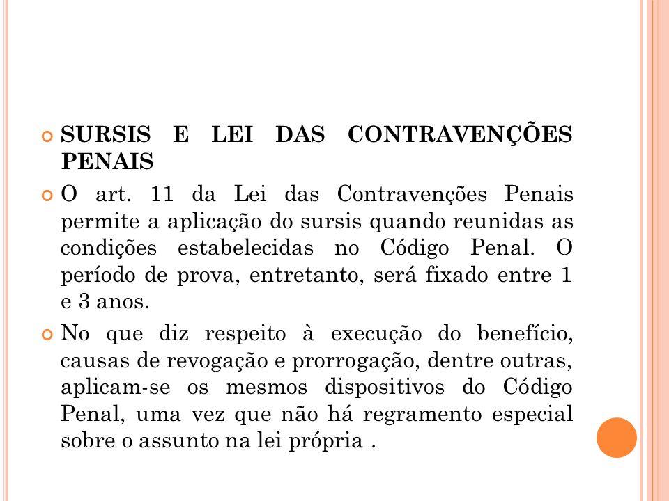 SURSIS E LEI DAS CONTRAVENÇÕES PENAIS O art. 11 da Lei das Contravenções Penais permite a aplicação do sursis quando reunidas as condições estabelecid