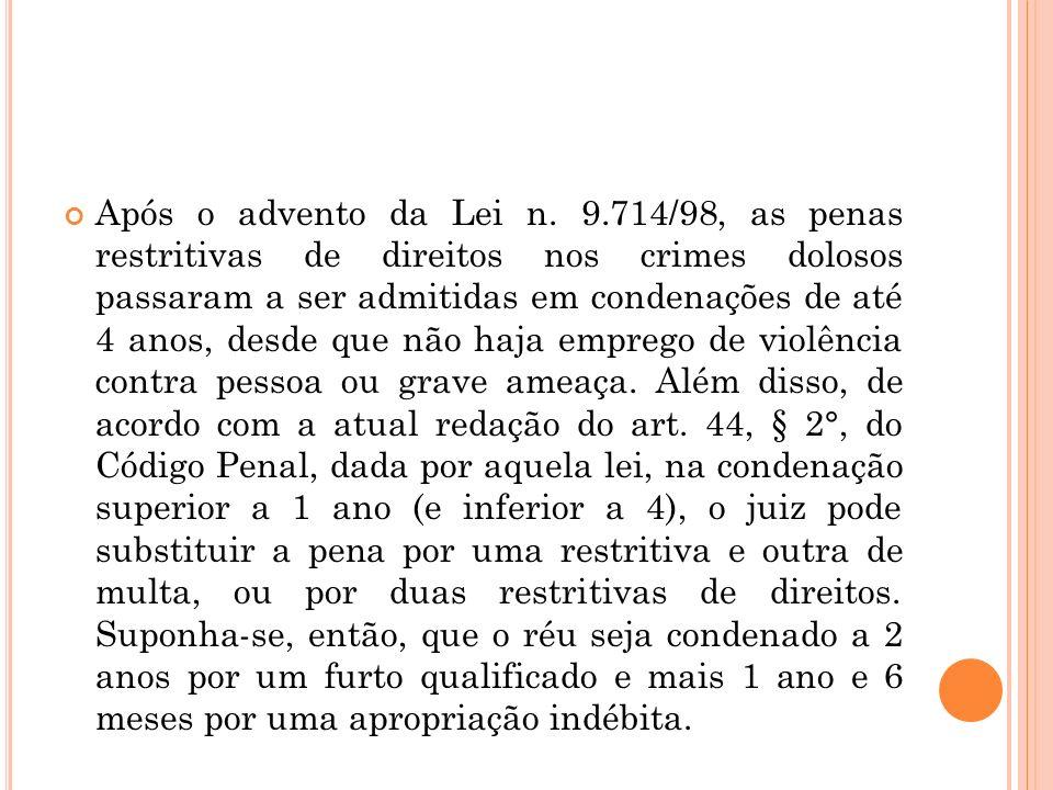 Após o advento da Lei n. 9.714/98, as penas restritivas de direitos nos crimes dolosos passaram a ser admitidas em condenações de até 4 anos, desde qu