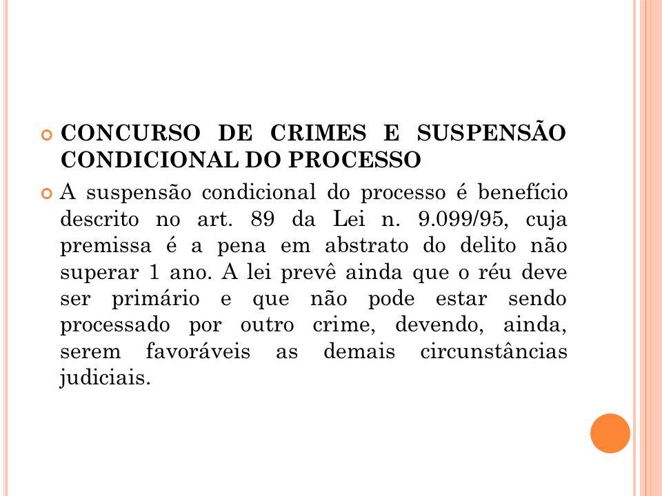 CONCURSO DE CRIMES E SUSPENSÃO CONDICIONAL DO PROCESSO A suspensão condicional do processo é benefício descrito no art. 89 da Lei n. 9.099/95, cuja pr