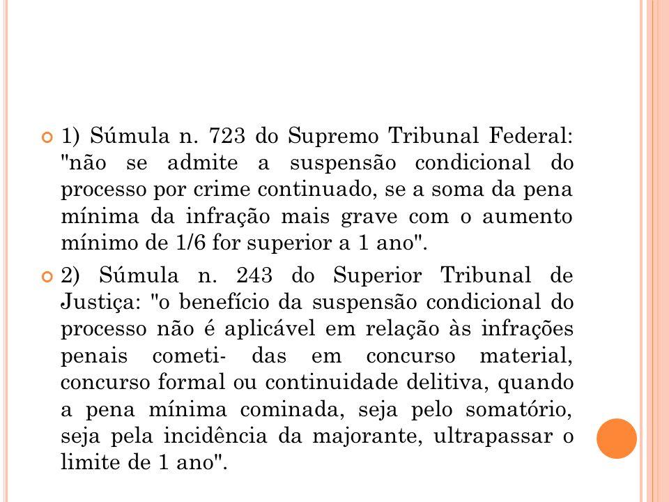 1) Súmula n. 723 do Supremo Tribunal Federal: