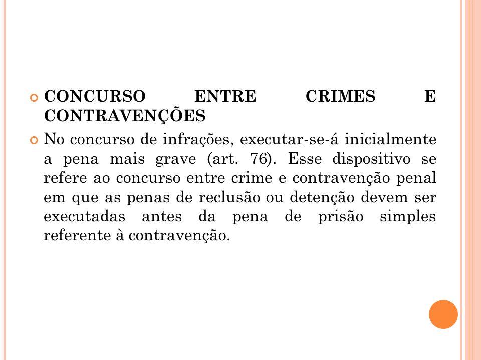 CONCURSO ENTRE CRIMES E CONTRAVENÇÕES No concurso de infrações, executar-se-á inicialmente a pena mais grave (art. 76). Esse dispositivo se refere ao