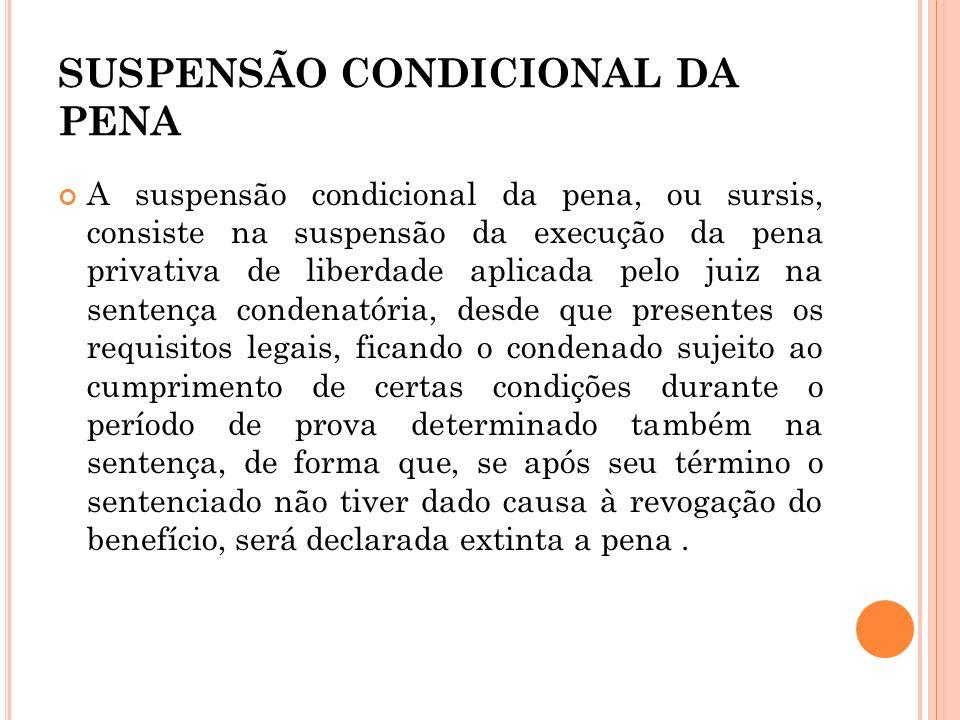 SUSPENSÃO CONDICIONAL DA PENA A suspensão condicional da pena, ou sursis, consiste na suspensão da execução da pena privativa de liberdade aplicada pe