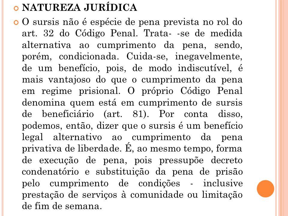 NATUREZA JURÍDICA O sursis não é espécie de pena prevista no rol do art. 32 do Código Penal. Trata- -se de medida alternativa ao cumprimento da pena,