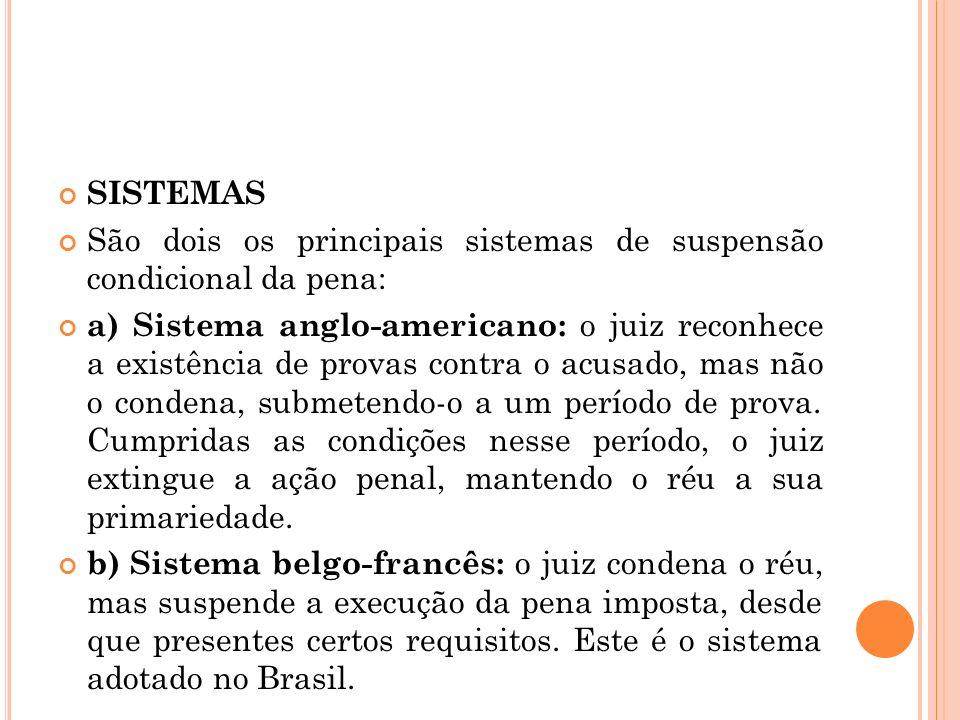 SISTEMAS São dois os principais sistemas de suspensão condicional da pena: a) Sistema anglo-americano: o juiz reconhece a existência de provas contra